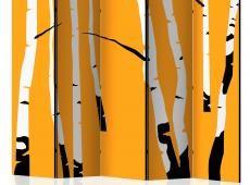Paraván - Birches on the orange background II [Room Dividers]